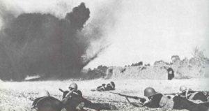 Russian Marines under shell fire.