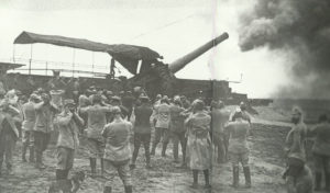 12-inch rail gun fires on German positions