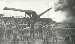 12-inch rail gun fires on German positions