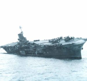 HMS Ark Royal after hit by U81