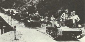 Column of Australian troops in Malaya