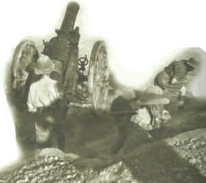 British howitzer in action