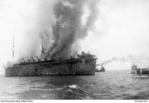 'Empress of Asia' burning