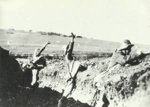 throwing hand grenades out of the trench