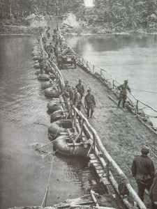 German pontoon bridge across the river Donets