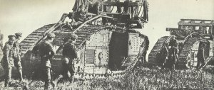 British tanks moving into the tank battle of Cambrai