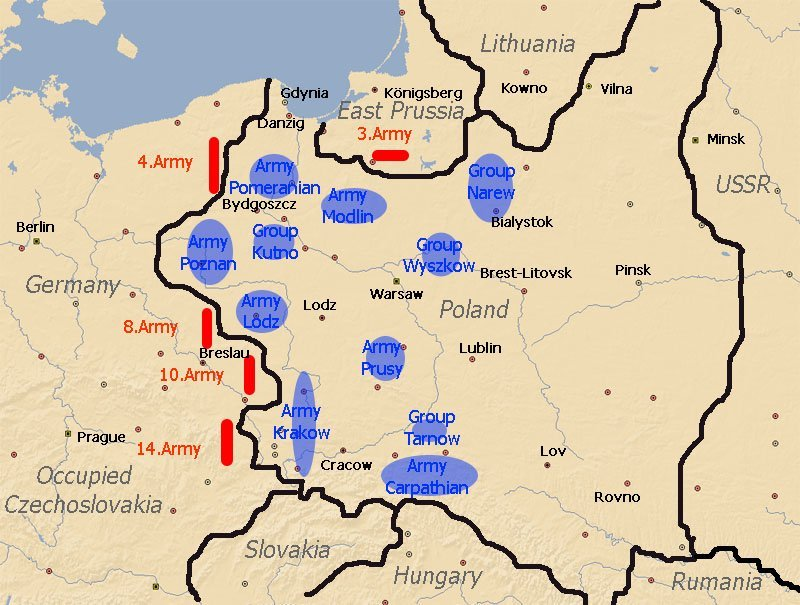 Location of Polish and German Armies on September 1, 1939