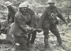 Stretcher-bearers in mud of Ypres