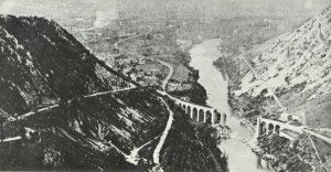 Blown-up bridges, such as the railway viaduct of Salcano near Gorizia