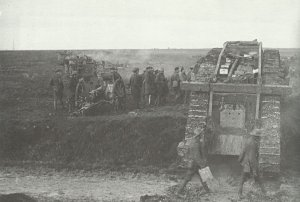 Britsih tanks advance during the Battle of Cambrai