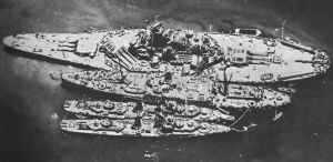 damaged battleship 'USS South Dakota'