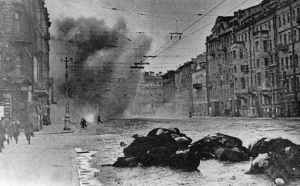 Shells are exploding in the streets of Leningrad.