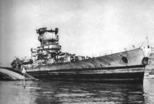 Heavily damaged battlecruiser 'Strasbourg'