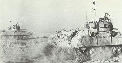 Infantry tanks Valentine on the advance at Ghazala