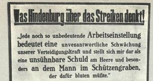 What Hindsenburg thinks about strikes
