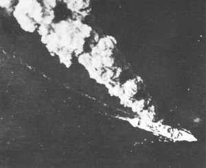Japanese merchantmen burns in the Bismarck sea