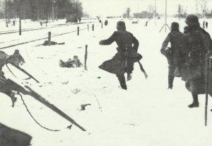 German soldiers pursue Red troops.