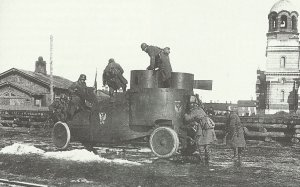 left behind Russian armored car