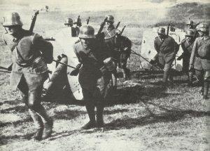 German gunners pull field guns