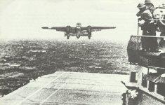 Launch of B-25 from carrier Hornet