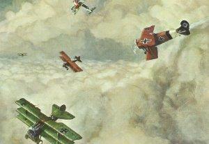 Attack of German Fokker Dr. triplanes and Fokker DVII fighters