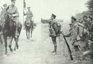 Haig, is inspecting Canadian troops