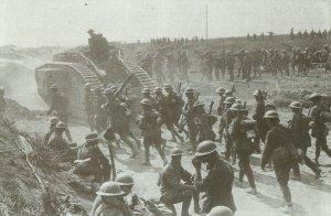 Tank Mk V and New Zealand infantry
