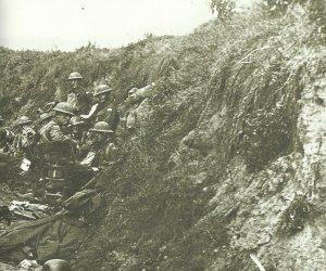 Australian soldiers occupy a captured German position