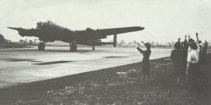 returning Lancaster bomber