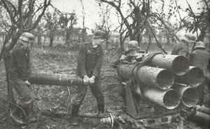 Loading a Nebelwefer rocket-launcher