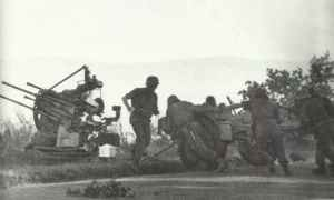 Re-deployment of a German 2-cm AA gun