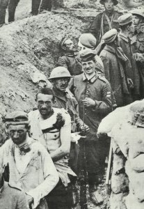 British soldiers bring in German PoWs
