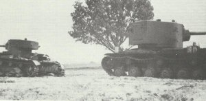 knocked-out KV-2 and T-26