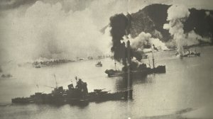 Japanese ships at Rabaul under air strike