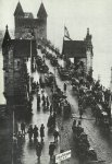 Return of German troops over the Rhine bridge near Bonn.