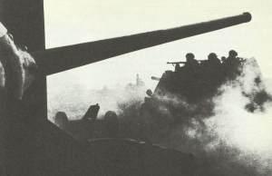 SU-76 self-propelled guns is crossing the Polish pre-war border