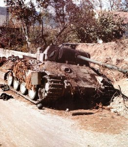 Destroyed Panther tank of the Panzer-Lehr-Division