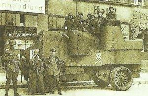 armoured car is standing here on Alexanderplatz in Berlin