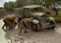 GAZ truck in the mud
