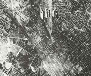 Bombs falling on Berlin.
