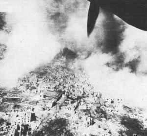 Cassino town bombed