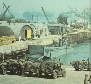 Loading war material for the Normandy invasion