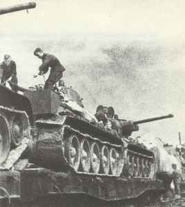 T-34 M44 (85-mm gun) on railway wagons
