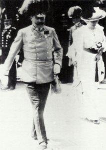Archduke Franz Ferdinand and his wife left their train to visit Sarajevo