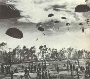 US paratroopers landing on Noemfoor Island.