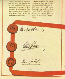 American signatures under the Treaty of Versailles