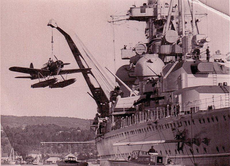 Admiral Hipper takes an Arado Ar196 seaplane on board