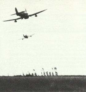 Hawker Typhoon fighter bombers search for possible targets