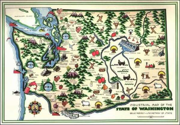 Map showing areas of Industry in Washington 1945 Map
