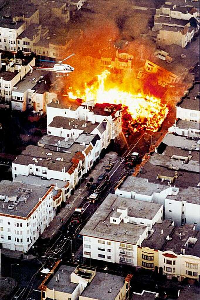 Image result for image of San Francisco burning after 1992 earthquake